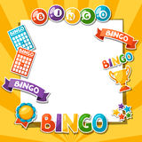 Bingo or lottery game background. With balls and cards royalty free illustration