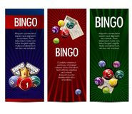 Bingo lottery lotto game vector banners set. Bingo lotto lottery banners template. Vector design of winner lucky numbers on balls, golden crown and game cards or vector illustration