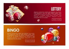 Bingo lotto lottery web banners templates set. Vector design with online interface buttons. Winner balls and lucky numbers, game cards or gambling tickets Stock Image