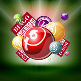 Bingo or lottry balls and cards Stock Photo