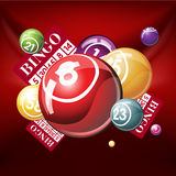 Bingo or lottry balls and cards on red backgroun Stock Images