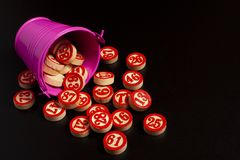 Bingo numbers in a bucket. Christmas and new year stock image