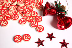 Bingo numbers and christmas ornaments. On white background Royalty Free Stock Photos