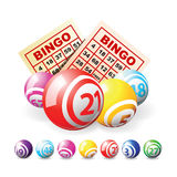 Bingo o sfere e schede di lotteria Fotografia Stock
