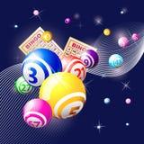 Bingo- oder Lotteriekugeln auf blauem Hintergrund stock abbildung