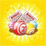Bingo oder Lotteriekugeln und -karten Stockbilder