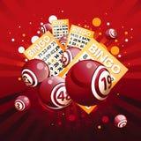 Bingo oder Lotteriekugeln und -karten Stockbild
