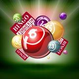 Bingo oder lottry Kugeln und Karten Stockfoto