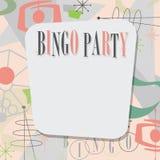 Bingo Party Invitation Mid Century Modern Cool. Bingo Party Invitation Mid-Century Modern Style Art Retro from 1950`s 1960`s vector illustration