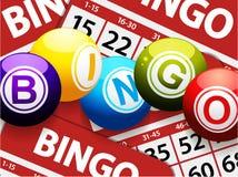 Bingo piłki nad czerwonymi bingo kartami ilustracja wektor