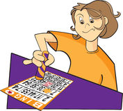 Bingo player illustration. Illustration of a person playing bingo, dabbing the bingo card Stock Image
