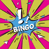 Bingo Pop art style. Bingo and exclamation sign in comic speech bubble on burst background Royalty Free Stock Images