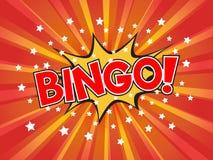 Bingo, redactando en burbuja cómica del discurso en fondo de la explosión Imágenes de archivo libres de regalías