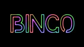 Bingo - seven colors neon text, moving lights, on transparent background