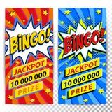 Bingo sieci loteryjni sztandary Loteryjny gemowy tło Komiczki sztuki stylu uderzenia kształt na czerwonym kręconym tle ideał ilustracja wektor