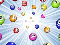 Bingo starburst. Illustration of Bingo balls over a blue starburst background Stock Photos