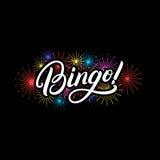 Bingo-test ! citation de lettrage écrite par main Image libre de droits