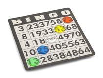 Bingo Win. Bingo Card with Winning Chips Isolated on White Background Stock Photos