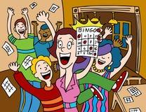 Bingo Winner. Cartoon of a woman winning at a game of bingo stock illustration