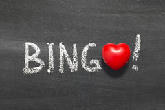 Bingo. Word handwritten on chalkboard with heart symbol instead of O Royalty Free Stock Images