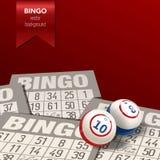 Bingoachtergrond met Ballen en Kaarten Vector illustratie Royalty-vrije Stock Afbeelding