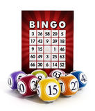 Bingokaart en ballen met aantallen Royalty-vrije Stock Afbeeldingen