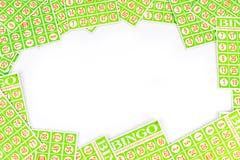 Bingokarte vereinbaren, Mittelraumhintergrund zu haben Lizenzfreies Stockfoto
