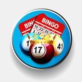 Bingokoning en kaarten over metaalgrens Royalty-vrije Stock Afbeeldingen