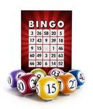 Bingokort och bollar med nummer Royaltyfria Bilder