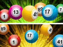 Bingokugel-Lotteriehintergründe Stockfotos