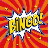 Bingolotteriaffisch Modig bakgrund för lotteri Form för smäll för komikerpop-konst stil på en röd vriden bakgrund Royaltyfri Bild