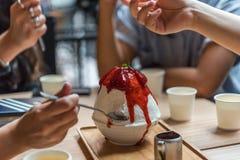 Bingsu or Bingsoo is a popular Korean dessert stock images