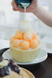 Bingsu del melone Immagine Stock