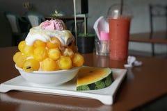 Bingsu dessert on blurred background, royalty free stock photos