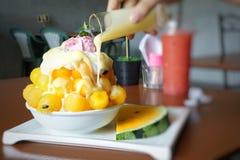 Bingsu dessert on blurred background. stock photo