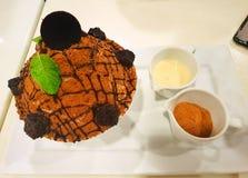 Bingsu dessert on white tray  on black background royalty free stock image