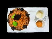 Bingsu dessert on white tray isolated on black background stock image