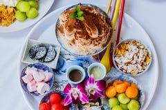 Bingsu lodu deser z kantalupem Zdjęcia Royalty Free