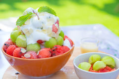 Bingsu Summer dessert ice fruit topping. Stock Photo
