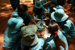 Worker in teamwork at rubber plantation Stock Image