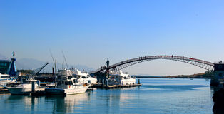 Binhai impression. Coastal city, blue sea, white's yacht, across the coastal bridge, the blue sky, the beautiful scenery Stock Photo