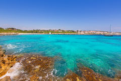 Binibeca beach in Menorca at Binibequer Vell village Stock Images