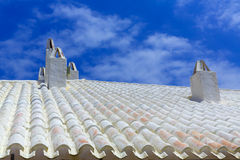 Binibequer Vell in Menorca White roof chimney Sant Lluis Royalty Free Stock Image