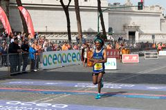 BINIYAM SENIBETA ADUGNA, second Italian at the finish line of th. Rome, Italy - 8 April 2018: BINIYAM SENIBETA ADUGNA, participates in the 24th edition of the stock photography