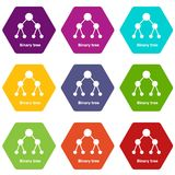 Binnary tree icons set 9 vector. Binnary tree icons 9 set coloful isolated on white for web Royalty Free Stock Photo
