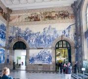 Binnen binnenland van het station van Saobento in Porto, Portugal stock afbeeldingen