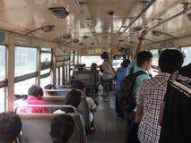 Binnen de busauto van Meningsbangkok stock foto's