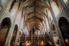 Binnen de Kathedraal van Albi stock afbeelding