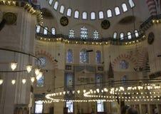 Binnen de Moskee Suleymaniye in Istanboel royalty-vrije stock fotografie
