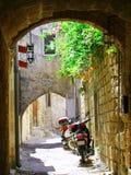 Binnen de oude stad van Rhodos Stock Foto's